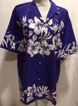 Creations Hawaii Large Hawaiian Aloha Shirt Floral Blue White MADE IN HA... - $29.99