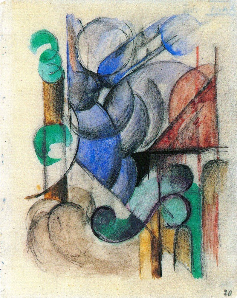 100% Hand Painted Oil on Canvas - House in abstract landscape by Franz Marc -...