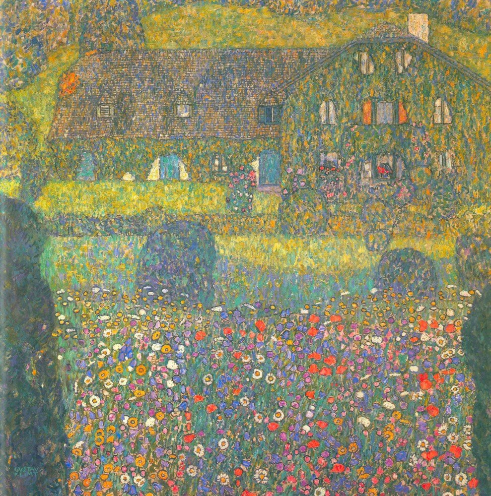 100% Hand Painted Oil on Canvas - House in Attersee by Klimt - 30x40 Inch