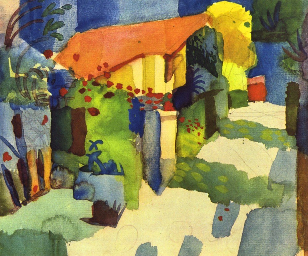 100% Hand Painted Oil on Canvas - House in the Garden by August Macke - 30x40...