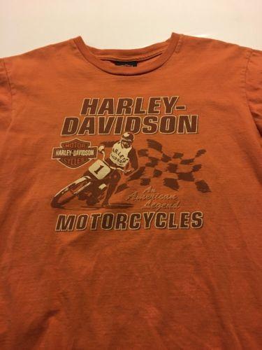 HARLEY-DAVIDSON MOTORCYCLES Kids Orange T-Shirt Size 18/20 X-Large Madison, WI