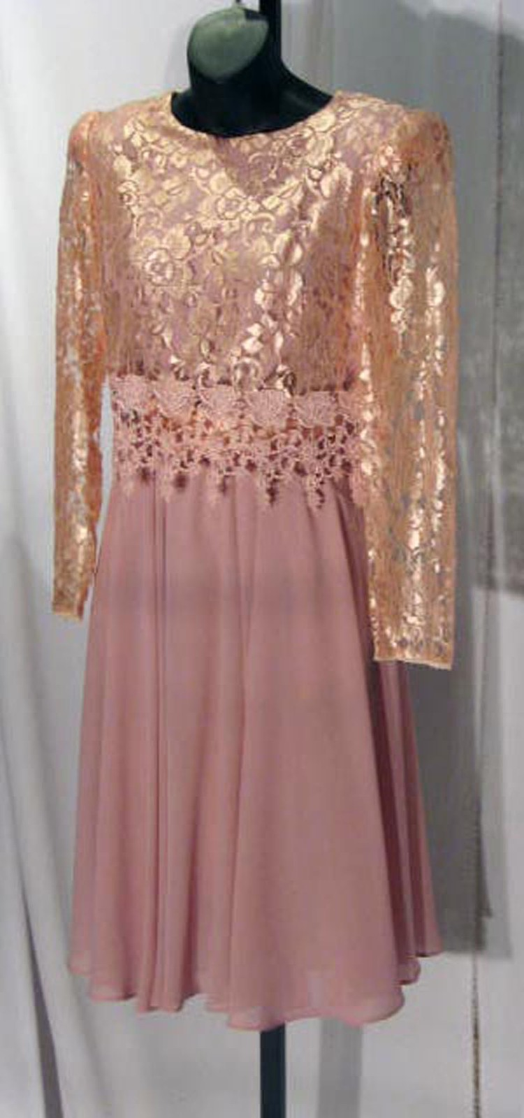 Marvinette VTG 100% Polyester Lace Top Dusty Pink Mid-Calf Cocktail Dress Sz: 6