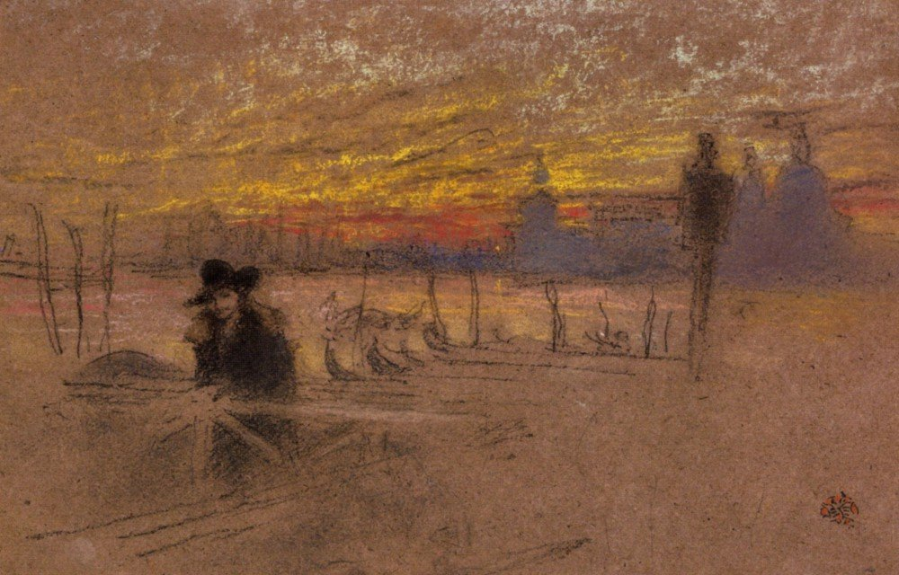 100% Hand Painted Oil on Canvas - Sunset Red and Gold by Whistler - 20x24 Inch