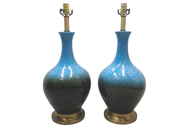 Mid Century Blue Ceramic Table Lamps-A  Pair