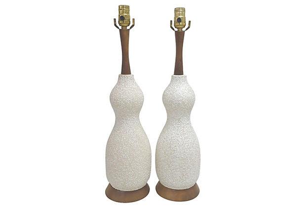 Mid Century White Ceramic and Walnut Lamps, Pair