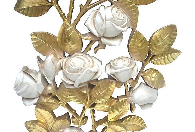 Hollywood Regency Gilded Rose Large Wall Hanging