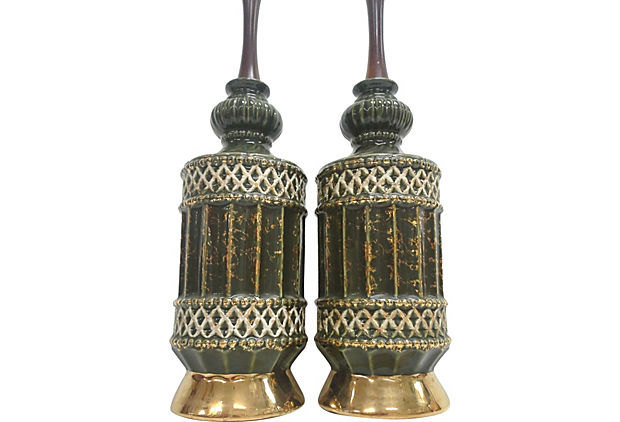 Vintage Mid-Century Green Gilt Ceramic Lamps-A Pair