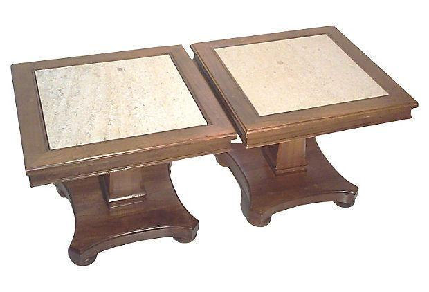 Mid Century Side Tables with Travertine Tops-Pair