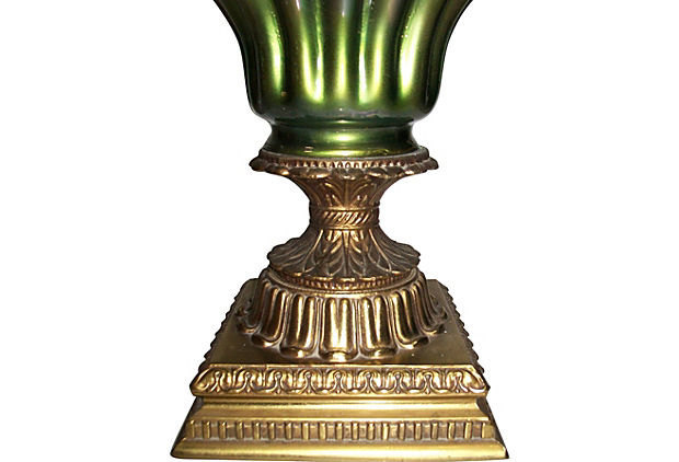 Vintage Marbro Gold and Green Gourd Glass Lamp