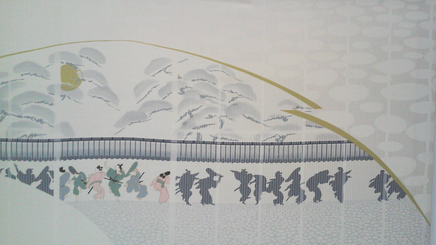 Vintage Chinoiserie Style 1970's Silkscreen Large Wall Hanging