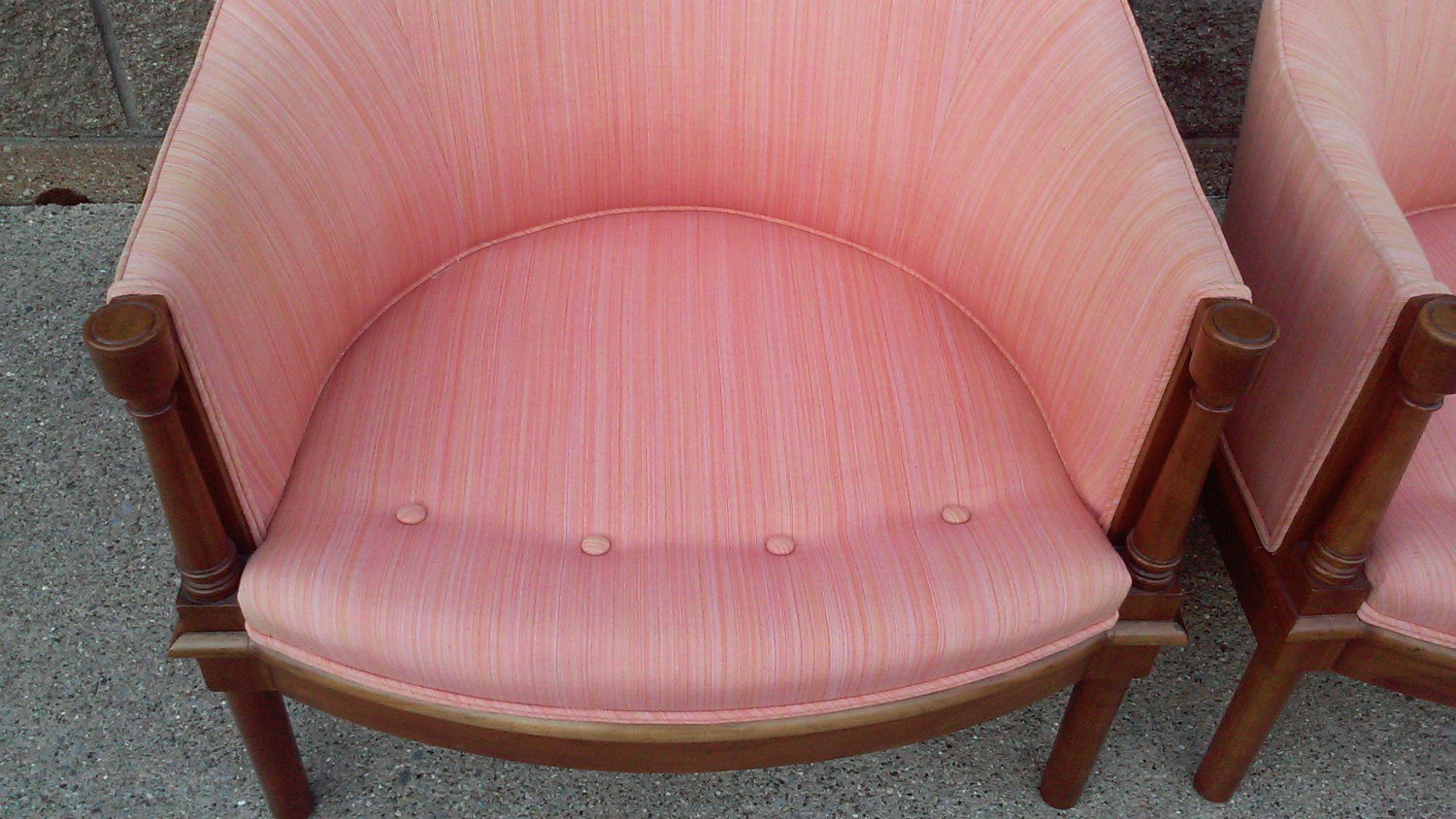 Hollywood Regency Pink Barrel Back Club Chairs-A Pair