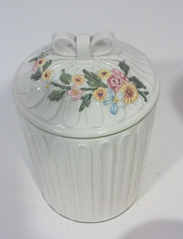 Botanical Apothecary Jars in White Ceramic, Italy-Set of Three