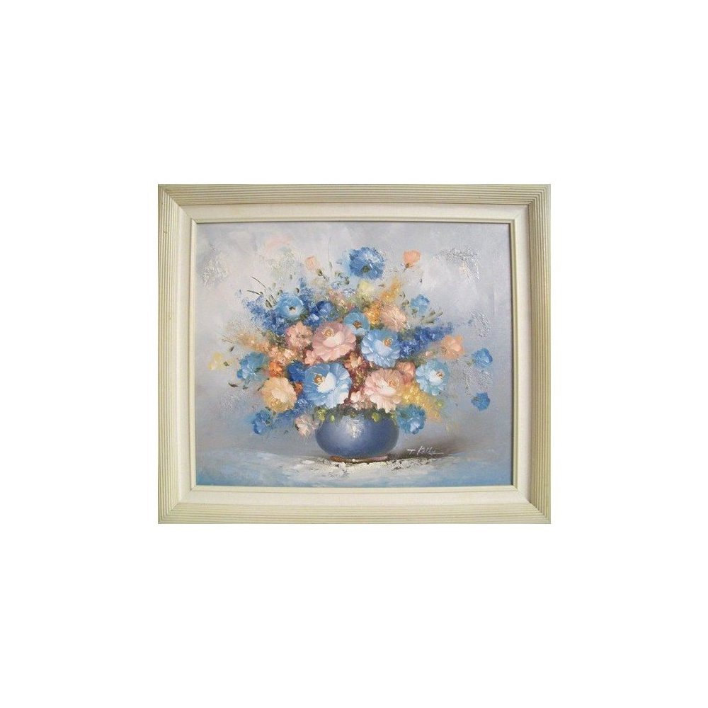 Vintage Blue Pastel Floral Still Life Oil on Canvas Painting-29.5 W x 25.5H