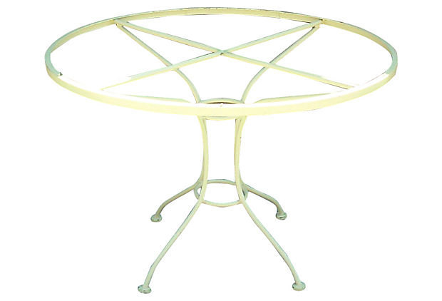Vintage Wrought Iron Round Dining Table and Chair Set with Glass Top by Woodard