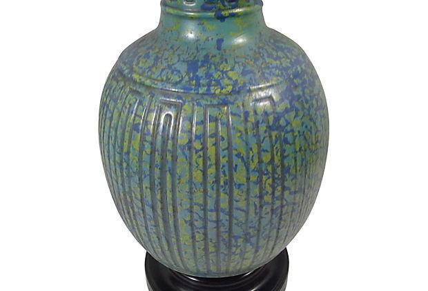 Marbro James Mont Turquoise Asian Ceramic Lamp