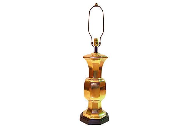 Vintage Hollywood Regency Gilt Chinoiserie Royal Haeger Ceramic Table Lamp