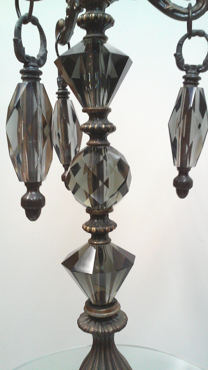 Hollywood Regency Smoked Glass and Marble Ornate Floor Lamp with Attached Table