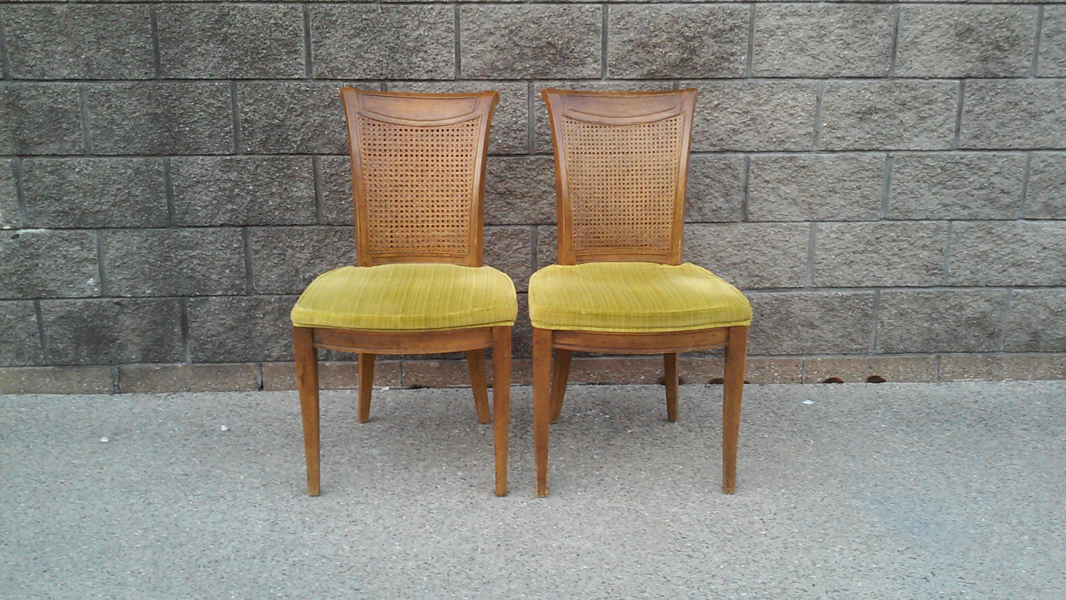 Mid-Century Hollywood Regency Cane Side Chairs-A Pair