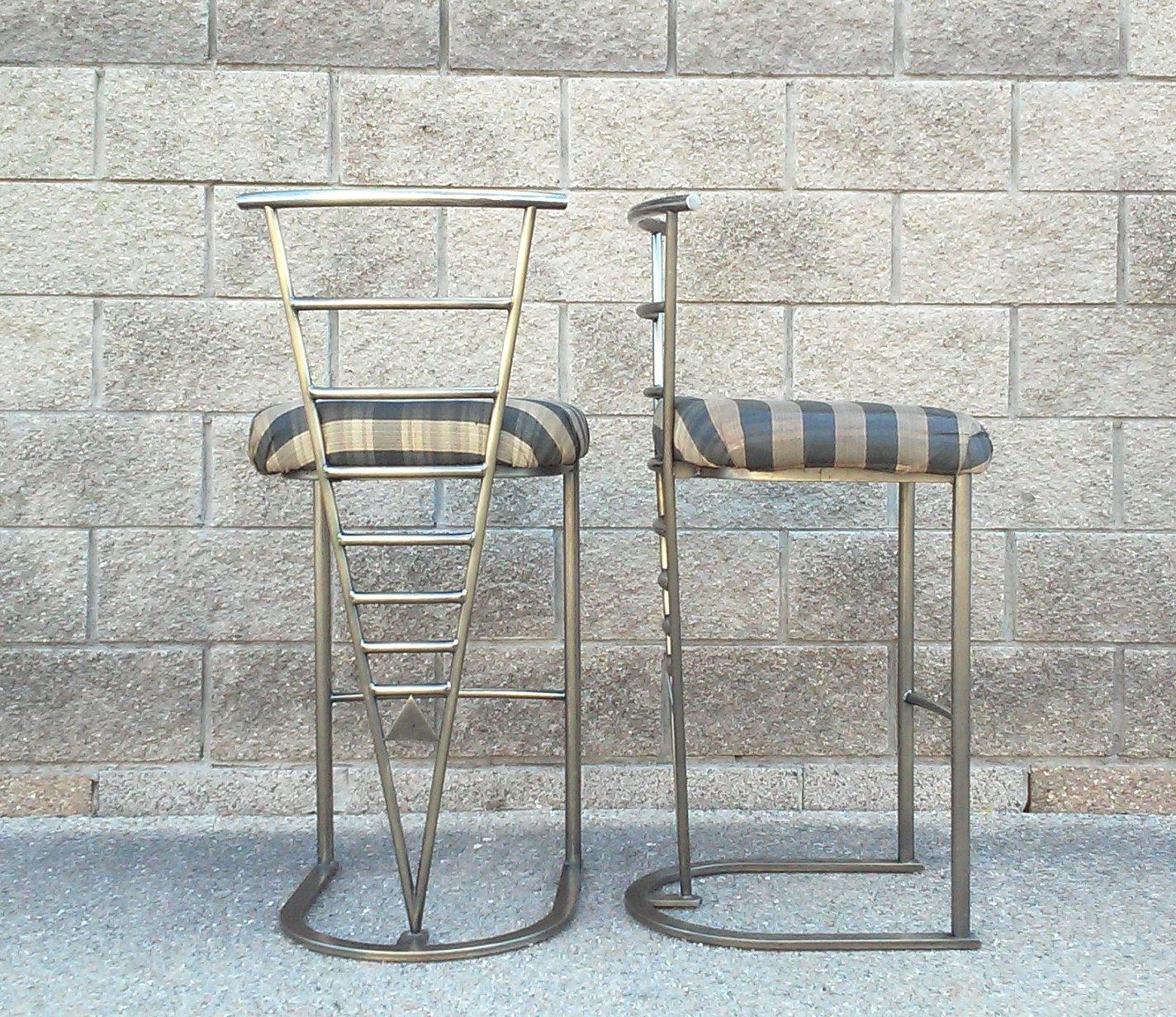 Vintage Milo Baughman Bar Height Bronze Finish Stools-A Pair