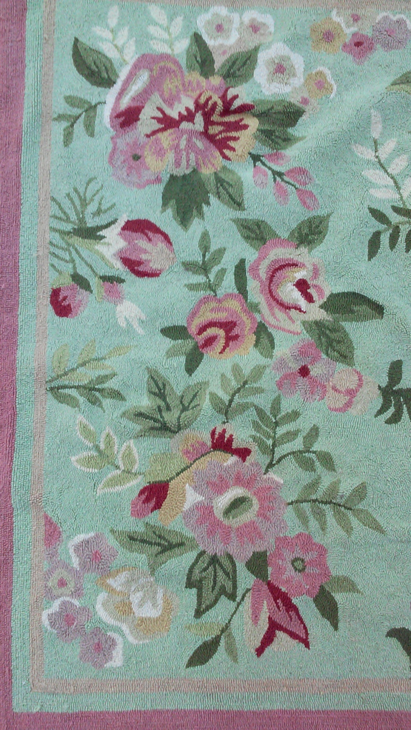Vintage Hooked Wool Rug, Shabby Chic Pink and Green Roses-4 X 7