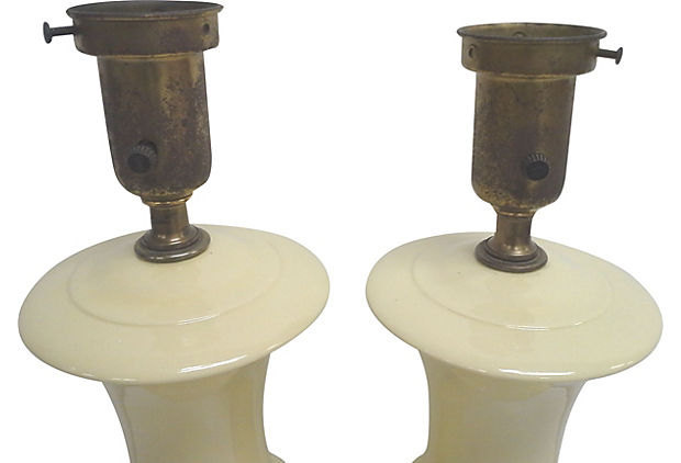 Rembrandt Ivory Ceramic Lamps, Pair