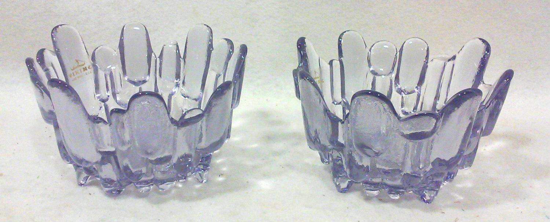 Viking Lavender Art Glass Candleholders-Pair