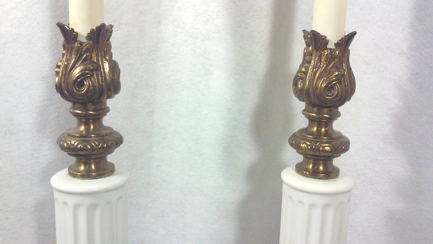Hollywood Regency White Ceramic and Marble Neo-Classical Table Lamps-A Pair