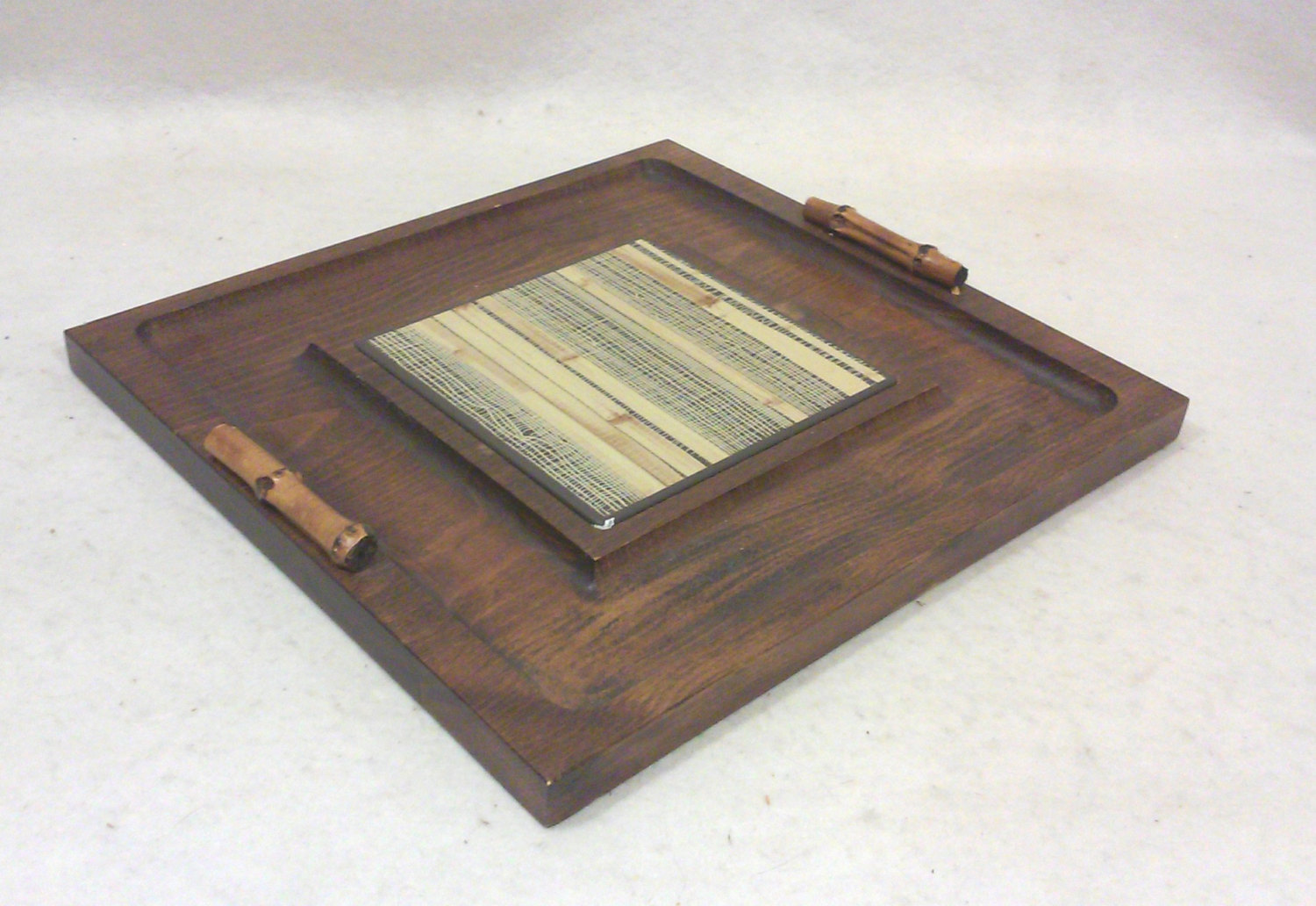 Mid-Century Faux Bamboo and Ceramic Wood Tray