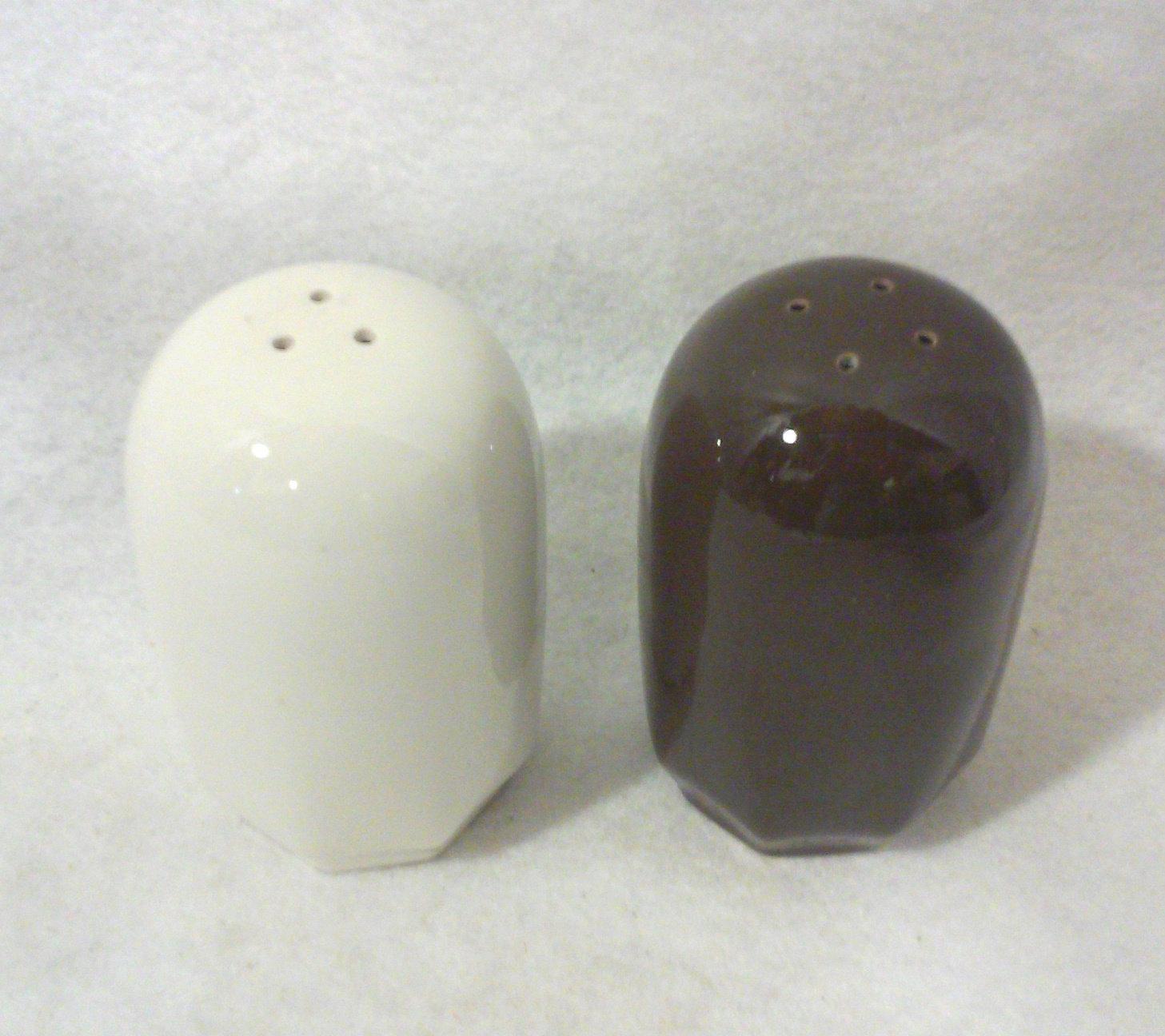 Mid Century Ceramic Bullet Salt and Pepper Shakers-Pair