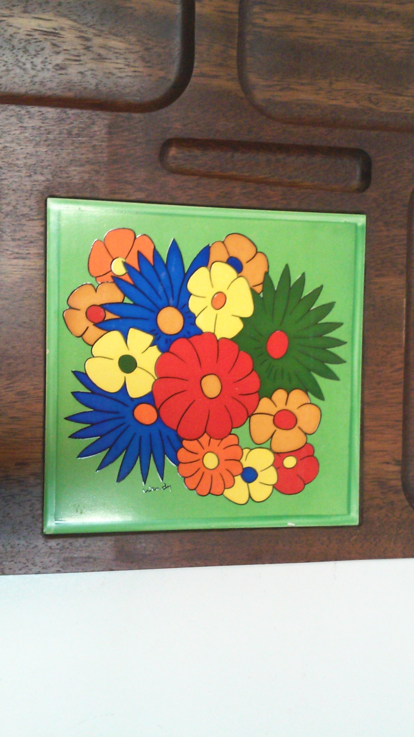 Vintage Mid-Century Hand Carved Wood Pop Art Serving Tray