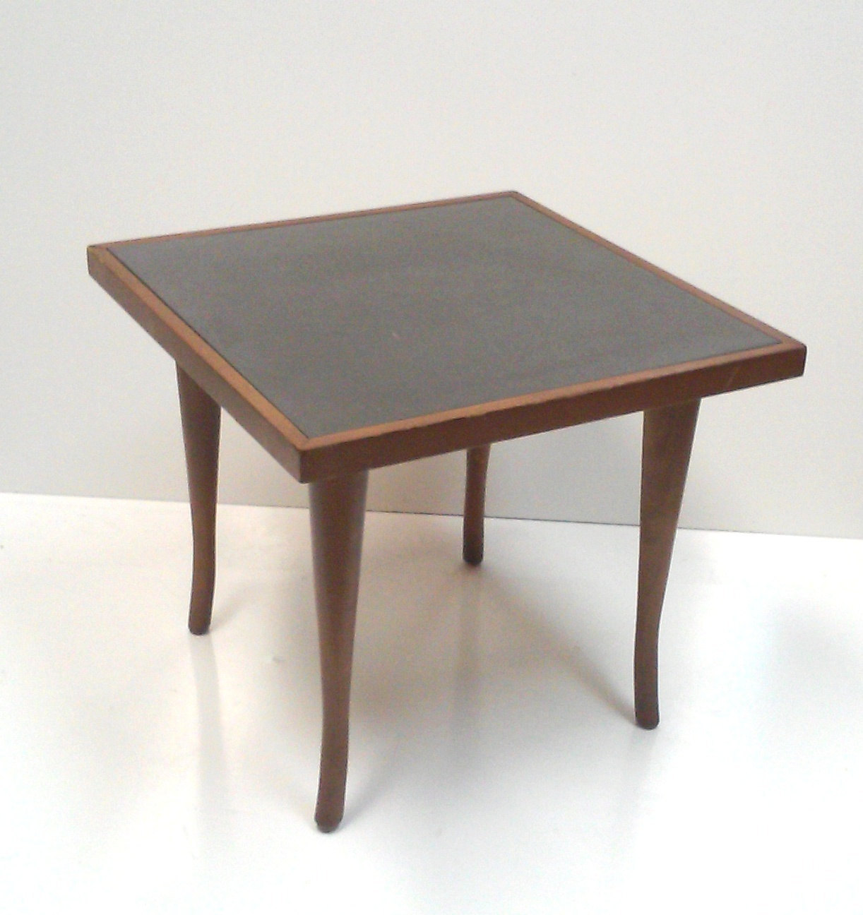 Mid-Century Walnut Side Table with Slate Top