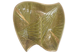 Mid Century Olive Green Ceramic Boomerang Ashtray - $125.00