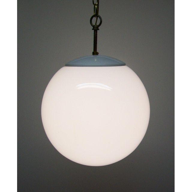 Vintage Mid Century Modern White Glass Globe Swag Hanging Light