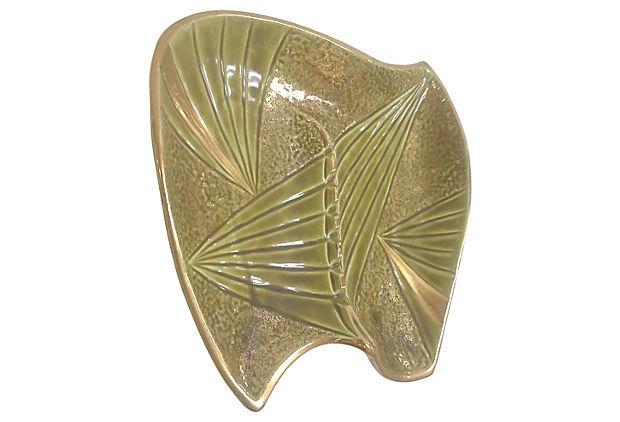 Vintage Mid Century Olive Green Ceramic Boomerang Ashtray
