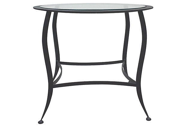 Modernist Black Steel Round Industrial End Table