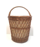 Mid Century Yugoslavian Tall Willow Basket with Handle - $129.00