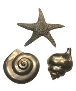 Vintage Brass Sea Shell, Conch Shell and Starfish Wall Hangings-Set of T... - $175.00