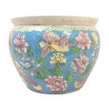 Large Chinese Blue Fish Bowl Planter with Peonies and Koi Fish Decoration - $225.00