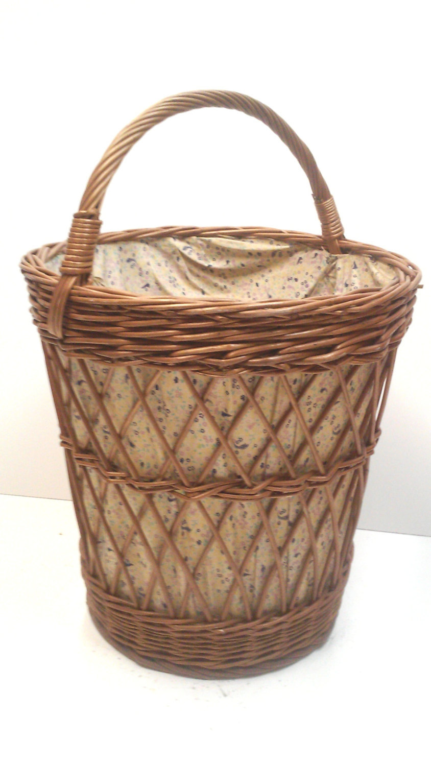 Mid Century Yugoslavian Tall Willow Basket with Handle