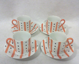 Mid Century Orange Stripe Black Dot Demitasse Cups and Saucers-Set for Four - $32.00