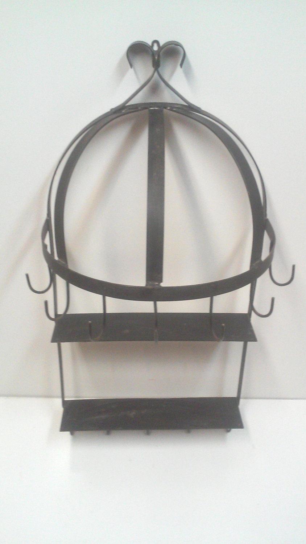 Vintage Large Hanging Iron Pan/Utensil/Spice Rack