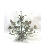 Vintage Italian Silver Tole Daisy Chandelier - $179.00