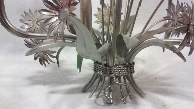 Vintage Italian Silver Tole Daisy Chandelier