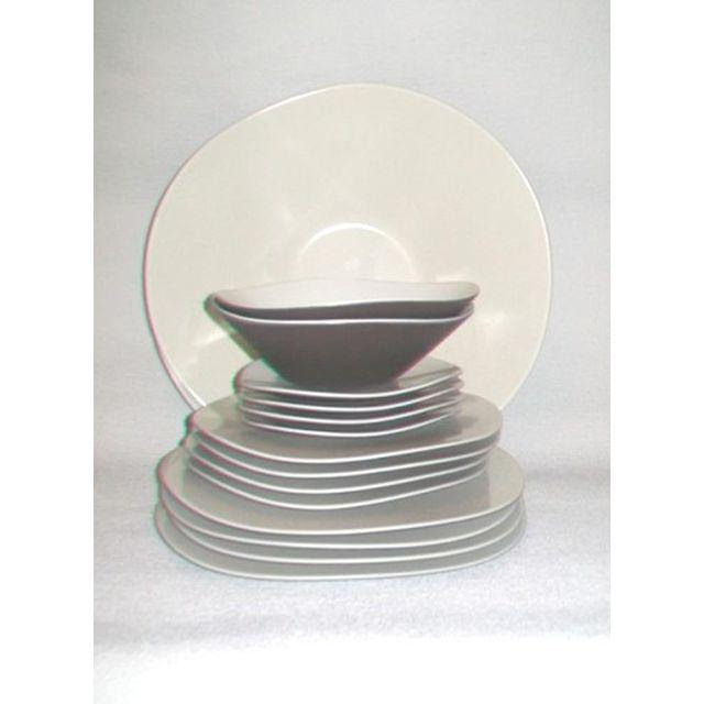 Modernist Umbra Two Tone Brown and Cream Melamine Dish Set of Twelve