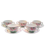 Vintage English Chanticleer Ware Soup Cups and Saucers with Pink Roosters - $89.00