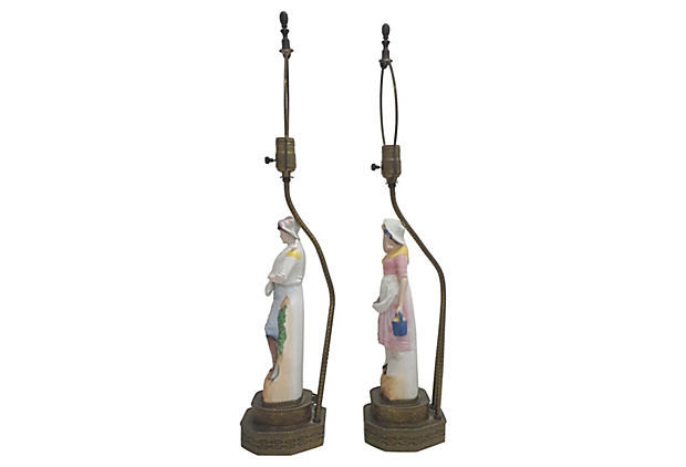 Vintage 1940s German Bisque Figural Lamps-A Pair