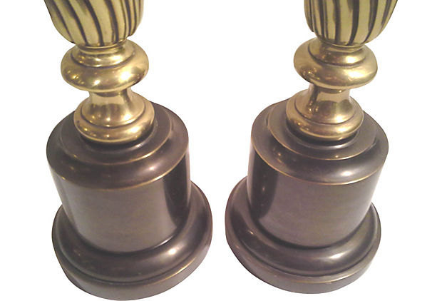 Vintage Stiffel Neo-Classical Brass and Bronze Finish Tall Table Lamps, Pair