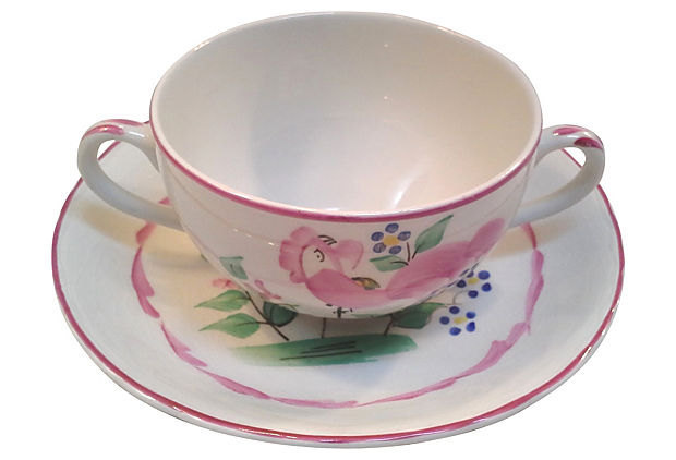 Vintage English Chanticleer Ware Soup Cups and Saucers with Pink Roosters