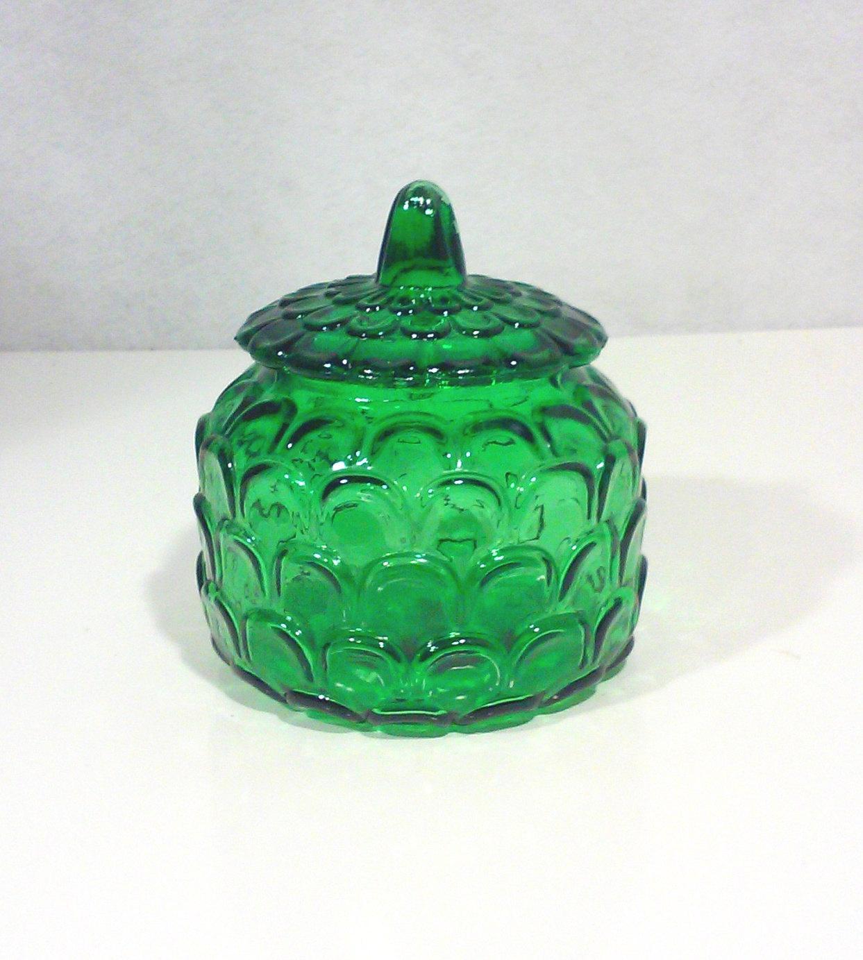 Vintage Italian Emerald Green Glass Lidded Jar