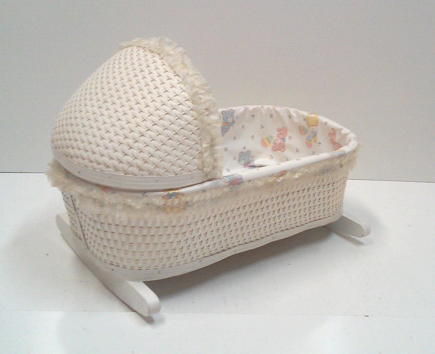 1970's Kids Wicker Doll Furniture Set of Four-Cradle. Rocking Chair, Hamper and